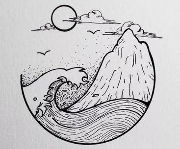 海浪简笔画手绘
